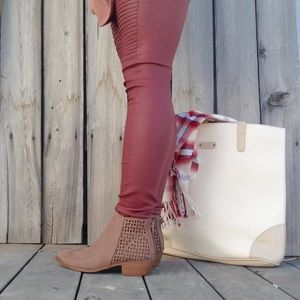 Nutmeg Brown Vegan Suede Cutout Bootie With Zipper